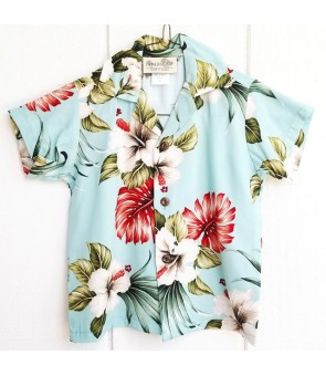 Hawaiian Rayon Boys Aloha Shirt [ Hibiscus & Monstera ] Light Blue