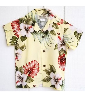 Hawaiian Rayon Boys Aloha Shirt [ Hibiscus & Monstera ] Light Yellow