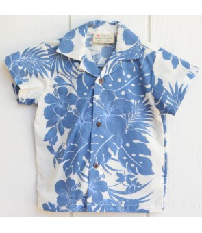 Hawaiian Poly Cotton Boys Aloha Shirt [ Nahenahe Hibiscus ] Blue