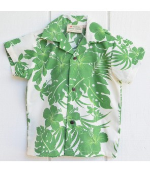 Hawaiian Poly Cotton Boys Aloha Shirt [ Nahenahe Hibiscus ] Green