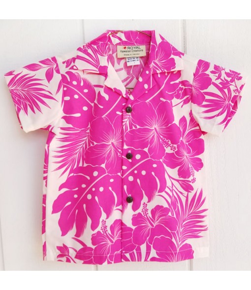 Hawaiian Poly Cotton Boys Aloha Shirt [ Nahenahe Hibiscus ] Pink
