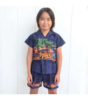 Hawaiian Cotton Boys Cabana Set [ Car & Surfboard ] Navy