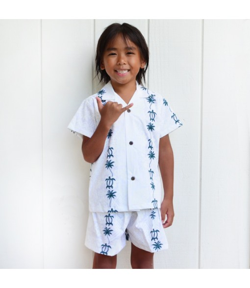 Hawaiian Cotton Boys Cabana Set [ Honu & Palm Tree ] Green