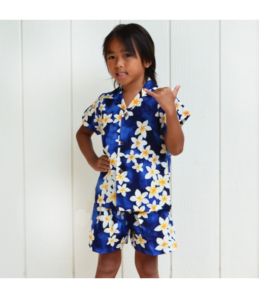 Hawaiian Cotton Boys Cabana Set [ Plumeria ] Blue