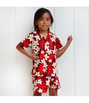 Hawaiian Cotton Boys Cabana Set [ Plumeria ] Red