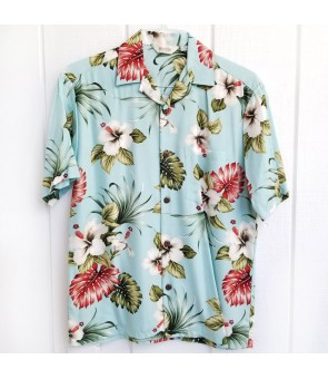 Hawaiian Rayon Aloha Shirt [ Hibiscus & Monstera ] Light Blue