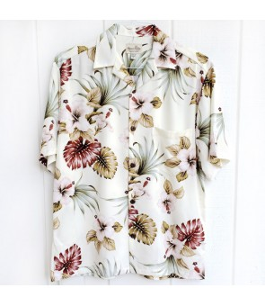 Hawaiian Rayon Aloha Shirt [ Hibiscus & Monstera ] Ivory
