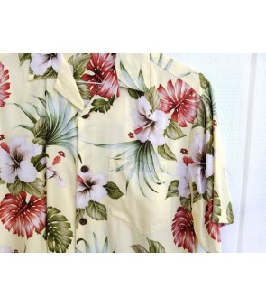 Hawaiian Rayon Aloha Shirt [ Hibiscus & Monstera ] Light Yellow
