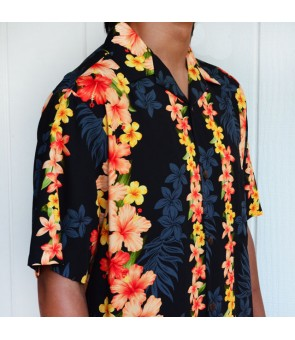 Hawaiian Rayon Aloha Shirt [ Hibiscus Panel ] Black