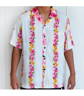 Hawaiian Rayon Aloha Shirt [ Hibiscus Panel ] White