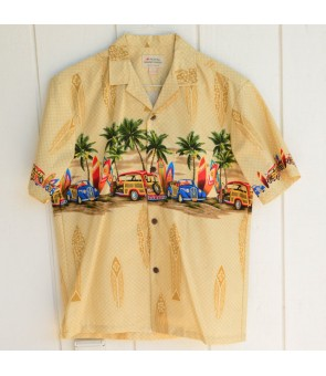 Hawaiian Cotton Aloha Shirt [ Car & Surfboard ] Khaki