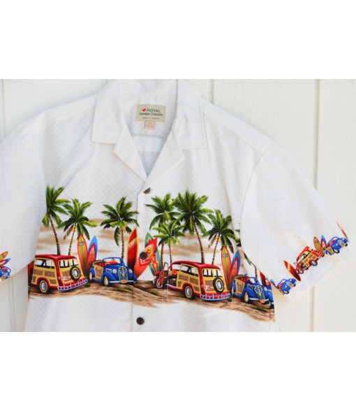 Hawaiian Cotton Aloha Shirt [ Car & Surfboard ] White