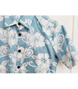 Hawaiian Reverse Cotton Aloha Shirt [ Hibiscus ] Blue