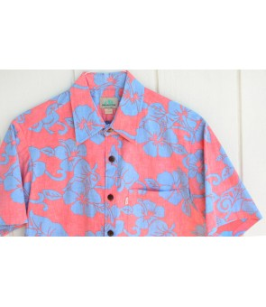 Hawaiian Reverse Cotton Aloha Shirt [ Hibiscus ] Cotton Candy