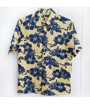 Hawaiian Reverse Cotton Aloha Shirt [ Hibiscus ] Mustard Yellow