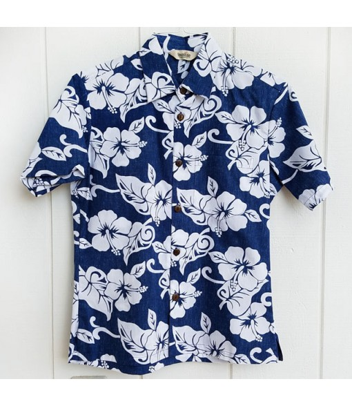Hawaiian Reverse Cotton Aloha Shirt [ Hibiscus ] Navy