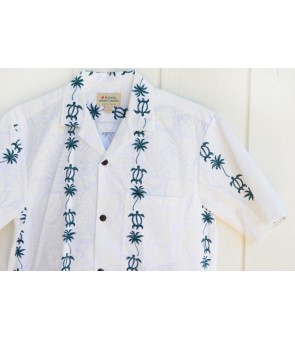 Hawaiian Cotton Aloha Shirt [ Honu & Palm Tree ] Green