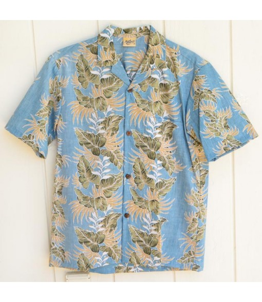 Hawaiian Reverse Cotton Aloha Shirt [ Leaf Lei ] Blue