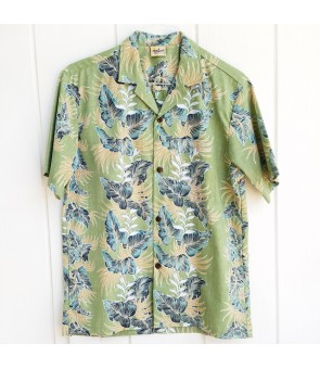 Hawaiian Reverse Cotton Aloha Shirt [ Leaf Lei ] Green