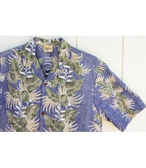 Hawaiian Reverse Cotton Aloha Shirt [ Leaf Lei ] Navy