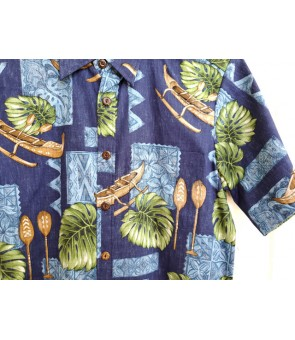 Hawaiian Reverse Cotton Aloha Shirt [ Monstera & Canoe ] Navy