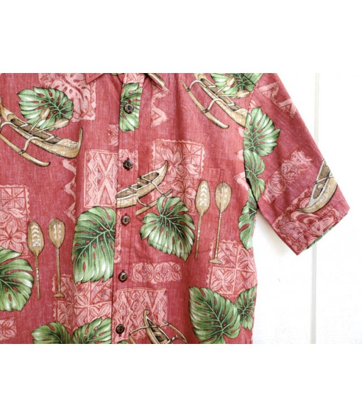 Hawaiian Reverse Cotton Aloha Shirt [ Monstera & Canoe ] Red
