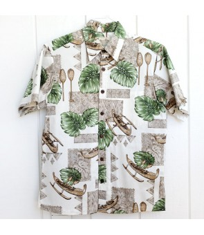 Hawaiian Reverse Cotton Aloha Shirt [ Monstera & Canoe ] White