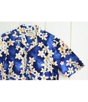 Hawaiian Cotton Aloha Shirt [ Plumeria ] Blue
