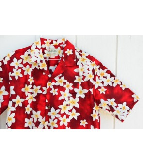 Hawaiian Cotton Aloha Shirt [ Plumeria ] Red