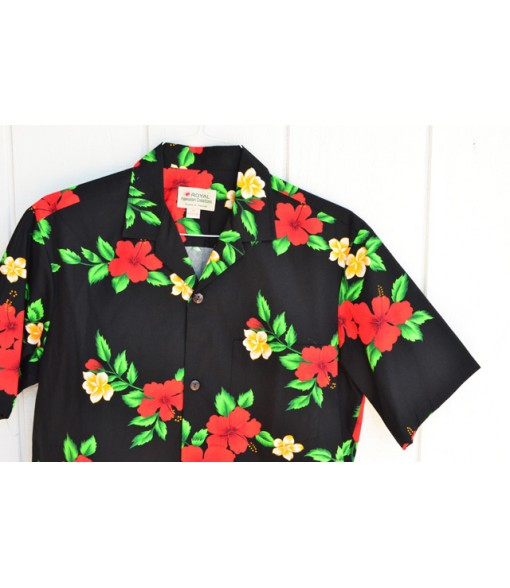 Hawaiian Cotton Aloha Shirt [ Red Hibiscus ] Black