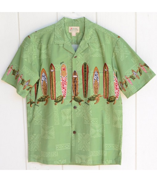 Hawaiian Cotton Aloha Shirt [ Turtle & Surfboard ] Green