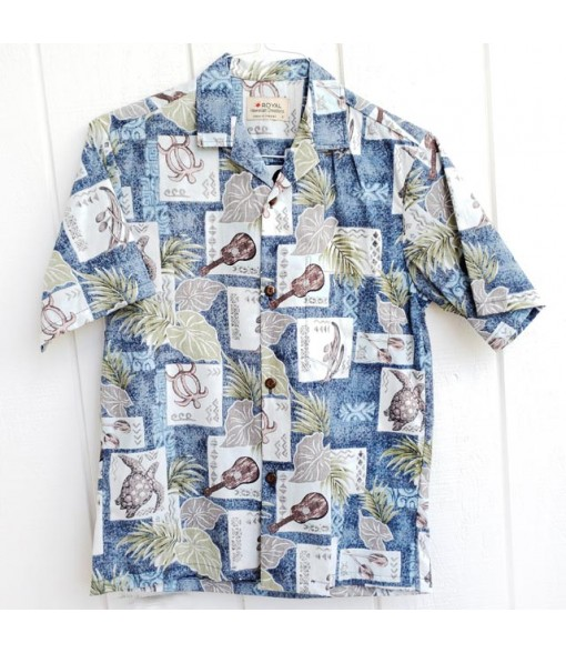 Hawaiian Reverse Cotton Aloha Shirt [ Ukulele Honu ] Blue