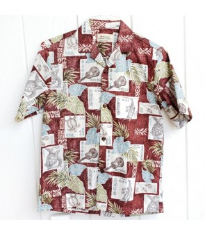 Hawaiian Reverse Cotton Aloha Shirt [ Ukulele Honu ] Red