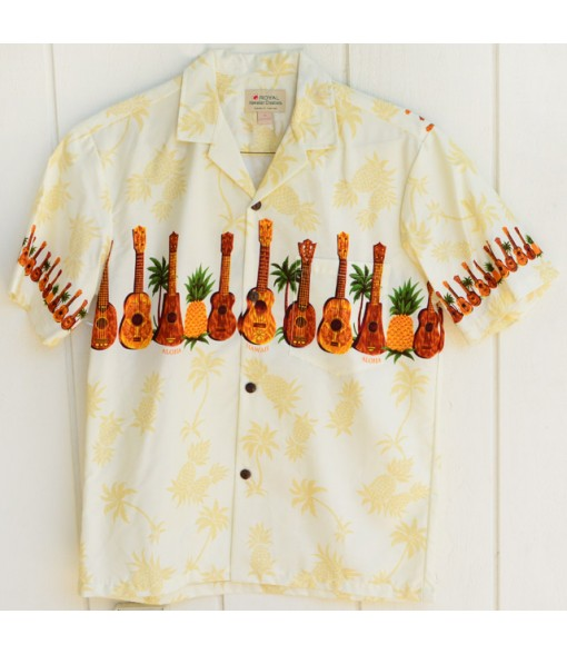 Hawaiian Cotton Aloha Shirt [ Ukulele & Pineapple ] Cream