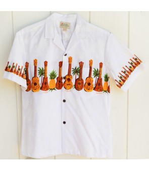 Hawaiian Cotton Aloha Shirt [ Ukulele & Pineapple ] White