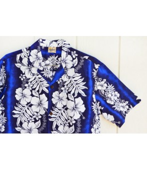 Hawaiian Poly Cotton Aloha Shirt [ Hibiscus & Fern ] Blue