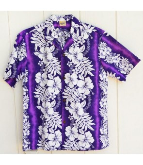 Hawaiian Poly Cotton Aloha Shirt [ Hibiscus & Fern ] Purple