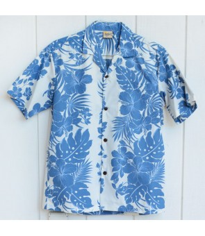 Hawaiian Poly Cotton Aloha Shirt [ Nahenahe Hibiscus ] Blue