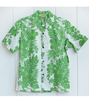 Hawaiian Poly Cotton Aloha Shirt [ Nahenahe Hibiscus ] Green