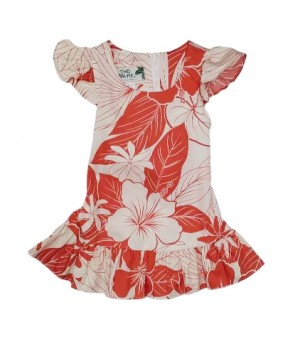 Hawaiian Cotton Girls Dress [ Lanai ] Coral