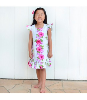 Hawaiian Cotton Girls Dress [ Plumeria Panel ] White