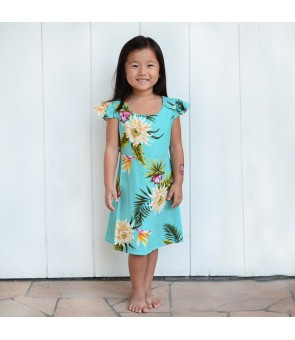 Hawaiian Rayon Girls Dress [ Ceres ] Green