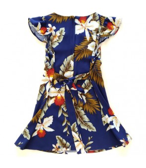 Hawaiian Rayon Girls Dress [ Hawaiian Orchid ] Navy