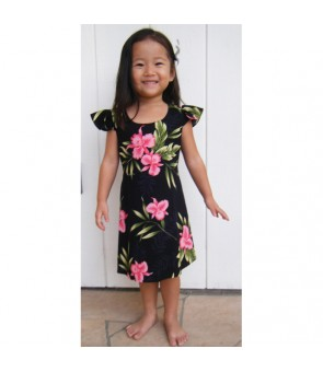 Hawaiian Rayon Girls Dress [ Orchid Fern ] Black