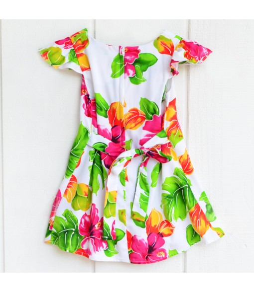 Hawaiian Rayon Girls Dress [ Hibiscus Watercolor ] White