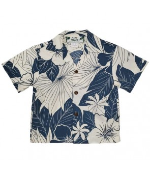 Hawaiian Cotton Boys Aloha Shirt [ Lanai ] Blue