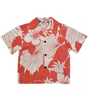 Hawaiian Cotton Boys Aloha Shirt [ Lanai ] Coral