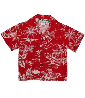 Hawaiian Cotton Boys Aloha Shirt [ Love Shack ] Red