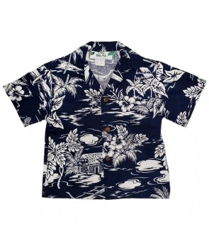 Hawaiian Cotton Boys Aloha Shirt [ Love Shack ] Navy