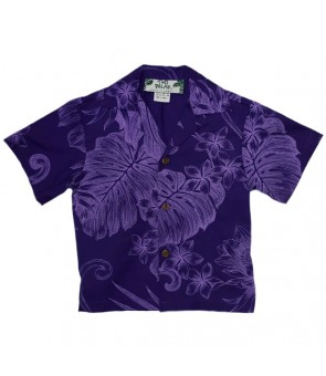 Hawaiian Cotton Boys Aloha Shirt [ Monstera Plumeria ] Purple